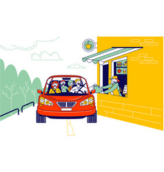 Convenient payment from car drive thru system vector