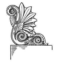 Corner akroter gable vintage engraving vector
