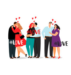 couple in love and hashtag love isolated on vector image
