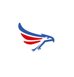 creative blue red eagle logo vector image