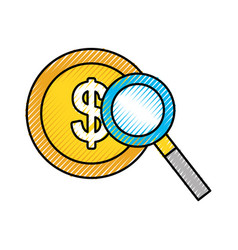 Currency coin dollar money with magnifier business vector