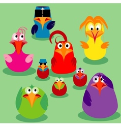 Cute birds family issues vector image