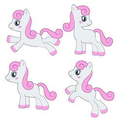 Cute pony collection vector image