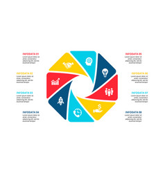 Cycle infographic diagram with 8 options vector