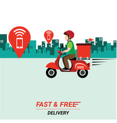 delivery man with scooter on city background vector image