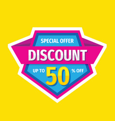 Discount up to 50 percent off - tag badge vector