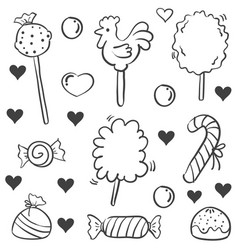 doodle of candy sweet sketch collection vector image