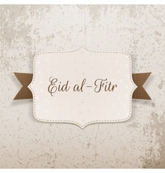 Eid al-fitr realistic paper badge with text vector