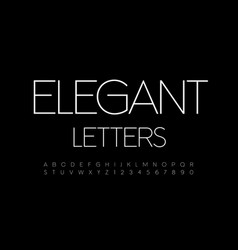 elegant alphabet letters and numbers set vector image