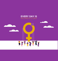 Every day is womens day card with girls dancing vector