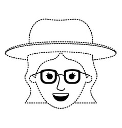 female face with hat and glasses and short wavy vector image