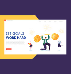 finance business success character landing page vector image