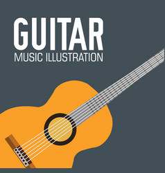 flat guitar poster background concept vector image