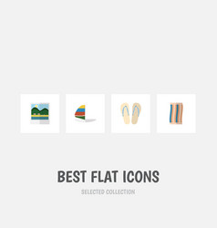 flat icon season set of surfing beach sandals vector image