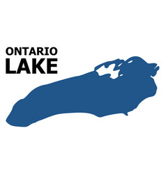 Flat map ontario lake with caption vector