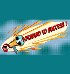 forward to success mouth screaming into a vector image