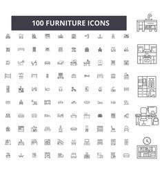 furniture editable line icons 100 set vector image