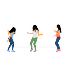 girls playing rubber band jumping game vector image