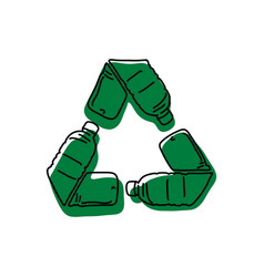 green recycle logo made of used bottle vector image