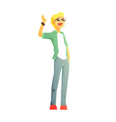 guy in shades jeans and green jacket young vector image