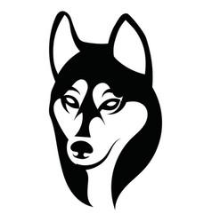 husky logo portrait a husky black and white vector image