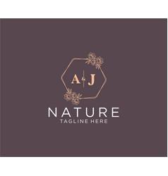 Initial aj letters floral frames botanical vector