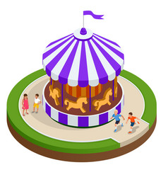 Isometric childrens carousel with horses isolated vector