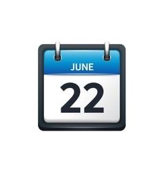 June 22 Calendar icon flat vector