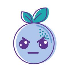 Kawaii cute angry orange fruit vector