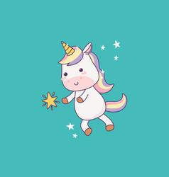 Kawaii little unicorn star cartoon character vector