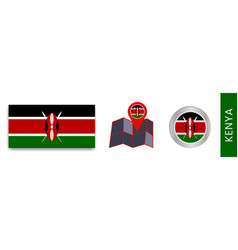 Kenyas national flag collection isolated vector