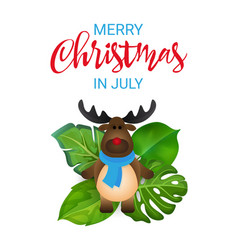 Merry christmas in july greeting banner with vector