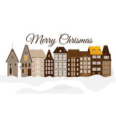 merry christmas urban snowy city building vector image