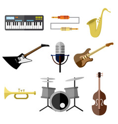 Music intrument band equipment graphic set vector