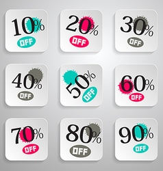 Paper Rounded Squares Discount Sale Splashes Set vector image