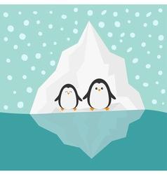 Penguin family Iceberg Blue water Snow in the sky vector