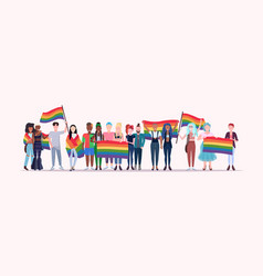 People group holding rainbow flag lgbt pride vector
