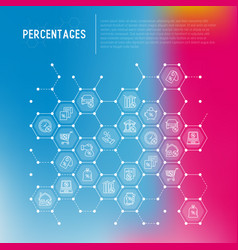 percentages concept in honeycombs vector image