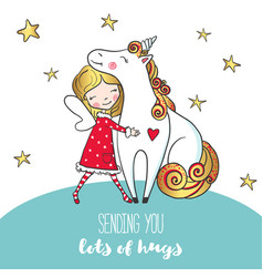 postcard with cute girl hugging unicorn vector image
