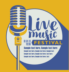 Poster for festival live music with a microphone vector