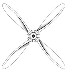 Propeller with four blades vector