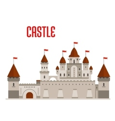 Royal castle with towers and curtain walls vector