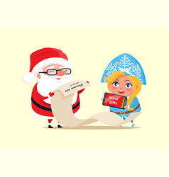 Santa and wishlist poster vector