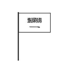 Saudi arabia flag icon in black outline flat vector