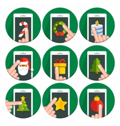 Set flat circle icons christmas vector