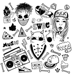 set of rap music icons black isolated hip hop vector image
