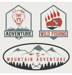 set of vintage adventure labels with bearsalmon vector image