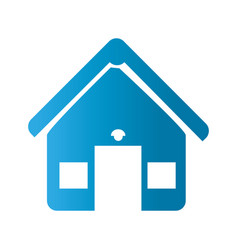 silhouette front view house with two windows icon vector image
