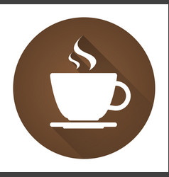simple round icon of coffee cup with drop shadow vector image