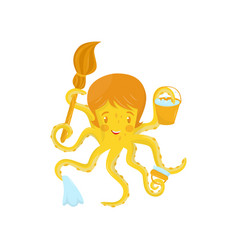 Smiling yellow octopus in role of cleaner sea vector